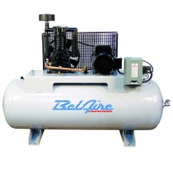 BelAire Compressors - 338HLE4 - BelAire 338HLE4 Horizontal 7.5 Hp, 80 Gallon, 460v 3 Phase, 2-Stage Elite Series Compressor (22.28 ACFM @ 175 PSI)