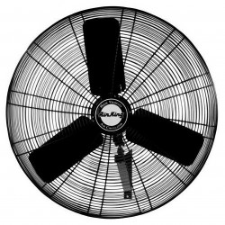 Air King - 9024 - Air King 9024 - 24 1/4 HP Wall Mount Fan - 24 Diameter - 3 Speed - 34.5 Height x 25 Width - Powder Coated Steel Blade, Powder Coated Steel Guard, Powder Coated Steel Mount - Black