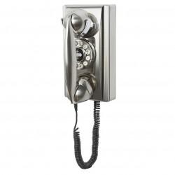 Crosley Furniture - CR55-BC - Crosley CR55-BC Rotary Dial Volume Control Wall Mountable Phone - Brushed Chrome