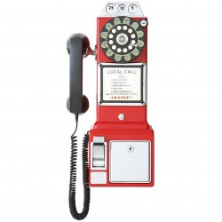 Crosley Furniture - CR56-RE - Crosley CR56-RE 1950's Style Push Button Technology Payphone - Red