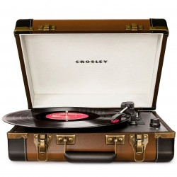 Crosley Furniture - CR6019A-BR - Crosley CR6019A-BR 3-Speed Executive Portable USB Turntable - Brown and Black