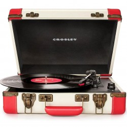 Crosley Furniture - CR6019A-RE - Crosley CR6019A-RE 3-Speed Executive Portable USB Turntable - Red and Cream