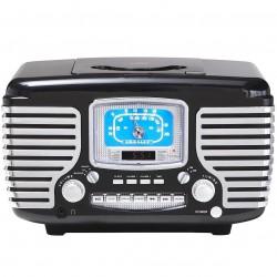 Crosley Furniture - CR612-BK - Crosley CR612-BK Corsair Retro Am/Fm Dual Alarm CD Player Clock Radio - Black