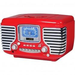 Crosley Furniture - CR612-RE - Crosley CR612-RE Corsair Retro Am/Fm Dual Alarm CD Player Clock Radio - Red