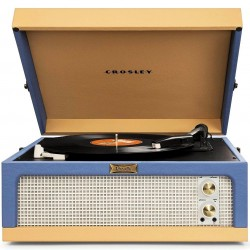 Crosley Furniture - CR6234A-BT - Crosley CR6234A-BT 3-Speed Dansette Junior Portable Record Player - Blue/Tan