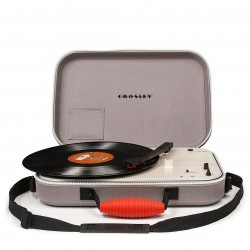 Crosley Furniture - CR8016A-GY - Crosley CR8016A-GY 3-Speed Battery Powered Messenger Turntable - Gray
