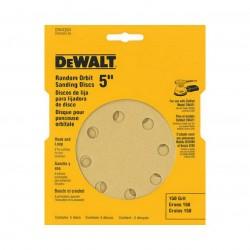 Dewalt - DW4304 - DeWALT DW4304 5'' 8 Hole 150 Grit Hook & Loop Random Orbit Sandpaper (5 Pk)