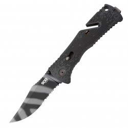 Sog Specialty Knives & Tools - TF3 - Sog TF3 3.75-Inch Partially Serrated Tigerstripe Trident Pocket Knife, Black