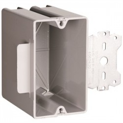 Pass & Seymour - S1-22-S50 - Pass & Seymour S1-22-S50 Switch/Outlet Box with Bracket, Depth: 3.375, 1-Gang, Non-Metallic
