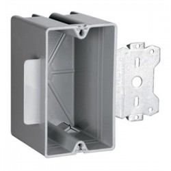 Pass & Seymour - S1-18-S50 - Pass & Seymour S1-18-S50 Switch/Outlet Box with Bracket, Depth: 2.71, 1-Gang, Non-Metallic