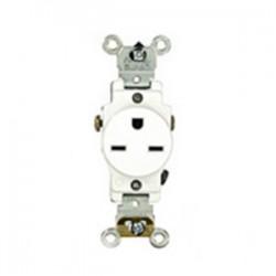 Leviton - 5651-W - Leviton 5651-W Single Receptacle, 15A, 250V, Narrow Body, White
