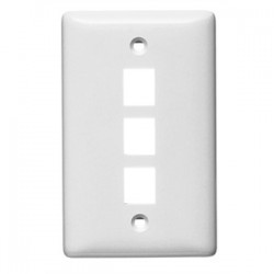 Hubbell - NSP13W - Hubbell-Premise NSP13W Wallplate, 3-Port, 1-Gang, Keystone, Rear Load, Flush, White