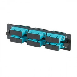 Ortronics - OR-OFP-SCD12LC - 6-SC-Duplex (12 fibers) multimode aqua adapters with ceramic alignment sleeves