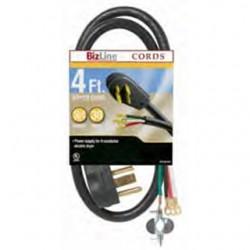 BizLine - DR104BL304FT - Bizline DR104BL304FT Dryer Cord, 30A, 125/250V, 4', Black, 4-Wire