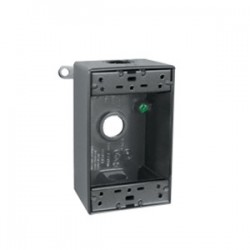 RAB Lighting - B4A - RAB B4A Weatherproof Outlet Box, 1-Gang, 2 Deep, (4) 1/2 Hubs, Die Cast, Limited Quantities Available