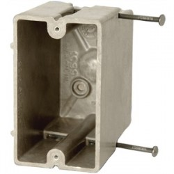 Allied Moulded - 1099-N - Allied Moulded 1099-N Switch/Outlet Box, 1-Gang, Depth: 3-9/16, Nail-On, Non-Metallic