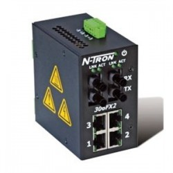 Red Lion Controls - 306FX2-N-ST - N-TRON 306FX2-N-ST Ethernet Switch, 6 Port, Unmanaged, 10-30VDC, 10/100BaseTX