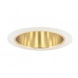Acuity Brands Lighting - 206G-WH - Juno Lighting 206G-WH Cone Trim, Deep, 5, BR30/PAR30, Gold Alzak Reflector/White Ring