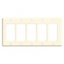 Leviton - 80423-T - Leviton 80423-T Decora/GFCI Wallplate, 5-Gang, Thermoset, Light Almond, Standard