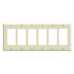 Leviton - 80436-T - Leviton 80436-T Decora/GFCI Wallplate, 6-Gang, Thermoset, Light Almond, Standard