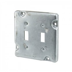 Appleton Electric - 8490 - Appleton 8490 4-11/16 Square Exposed Work Cover, (2) Toggle Switches