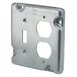 Appleton Electric - 8493N - Appleton 8493N 4-11/16 Square Exposed Work Cover, (1) Duplex, (1) Toggle Switch