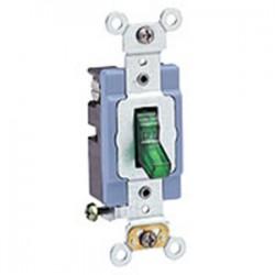 Leviton - 1201-PLG - Leviton 1201-PLG Single-Pole Pilot Light Toggle Switch, 15A, 120V, Green, LIT WHEN ON