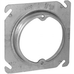 Appleton Electric - 8461E - Appleton 8461E 4 Square Fixture Cover, Mud Ring, 1/4 Raised, Drawn, Metallic