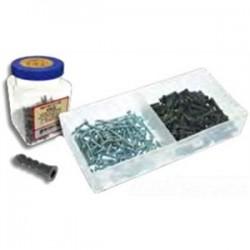 Metallics - WAKJ23F - Metallics WAKJ23F Plastic Anchor Kit, Gray Anchors, # 10 x 1 Screws, Flat Head/Phillips