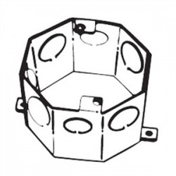 Thomas & Betts - 54551 1/2 & 3/4 - Steel City 54551 1/2 & 3/4 4 Octagon Concrete Box, 3 Deep, Drawn, 1/2 - 3/4 KOs, Steel