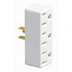 Leviton - 697-W - Leviton 697-W Plug-In 3-Outlet Adapter, 15A, White