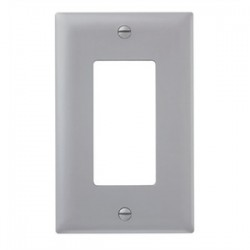 Pass & Seymour - TP26-GRY - Pass & Seymour TP26-GRY 1-Gang, Decora Wall Plate, Gray