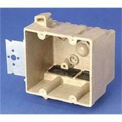 Allied Moulded - 2302-N - Allied Moulded 2302-N Switch/Outlet Box, 2-Gang, Depth: 3-7/16, Nail-On, Non-Metallic