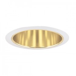 Acuity Brands Lighting - 247G-WH - Juno Lighting 247G-WH Cone Trim, Shallow, 6, Gold Alzak Reflector/White Trim
