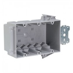 Pass & Seymour - S3-54-S50AC - Pass & Seymour S3-54-S50AC Switch/Outlet Box with Bracket, Depth: 3, 3-Gang, Non-Metallic