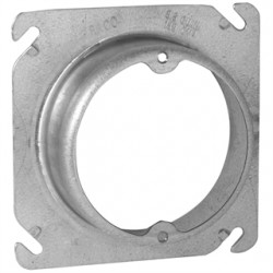 Appleton Electric - 8461C - Appleton 8461C 4 Square Fixture Cover, Mud Ring, 1 Raised, Drawn, Metallic