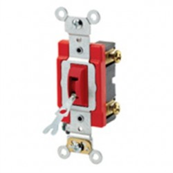 Leviton - 1221-2RL - Leviton 1221-2RL Single-Pole Locking Toggle Switch, 20A, 120/277V, Red, Industrial