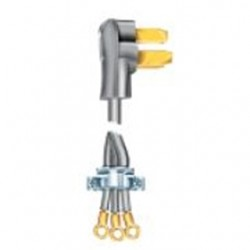 Coleman Cable - 09014-88-09 - Coleman Cable 09014-88-09 50 Amp, 125/250V AC, 3-Wire Range Cord Kit, Length: 4ft, Gray