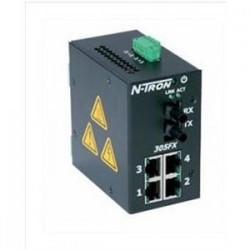 Red Lion Controls - 305FX-ST - 305FX-ST - N-Tron 5 port (4 10/100BaseTX, 1 100Base Fiber Uplink) Industrial Ethernet Switch, DIN-Rail (Multimode, ST style connector)