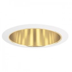Acuity Brands Lighting - 207G-WH - Juno Lighting 207G-WH Cone Trim, 5, R20/PAR20, Gold Alzak Reflector/White Ring