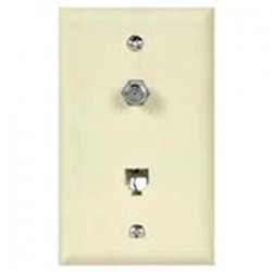 Cooper Wiring Devices - 3535-4W - Cooper Wiring Devices 3535-4W Wall Plate & Connector, F Coaxial and Telephone Jack, 1-Gang, White