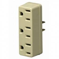Leviton - 698-I - Leviton 698-I Plug-In 3-Outlet Adapter, 2P/2W to 2P/3W, 15A, Ivory