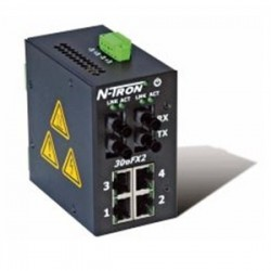 Red Lion Controls - 306FX2ST - 306FX2-ST - N-Tron 6 port (4 10/100BaseTX, 2 100BaseFX Fiber Uplink) Industrial Ethernet Switch, DIN-Rail (Multimode, ST style connector)