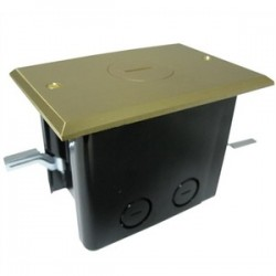 Allied Moulded - FB-1 - Allied Moulded FB-1 Floor Box Assembly, Includes Single Receptacle, Brass Floor Plate