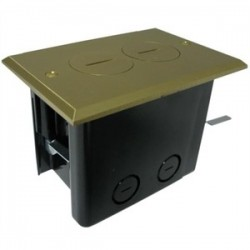 Allied Moulded - FB-2 - Allied Moulded FB-2 Floor Box Assembly, Includes Duplex Receptacle, Brass Floor Plate