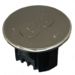 Allied Moulded - FB-3N - Allied Moulded FB-3N Floor Box Assembly, Includes Duplex Receptacle, Nickel Floor Plate