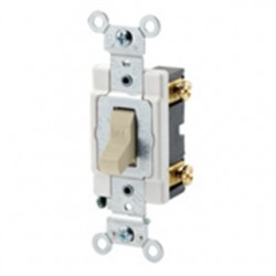 Leviton - 12021-2I - Leviton 12021-2I Single-Pole Toggle Switch, 3A, 24V AC/DC, Ivory, Industrial Grade
