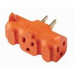 Leviton - 694 - Leviton 694 15 Amp NEMA 5-15, 3-Outlet Adapter, Orange