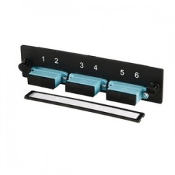 Ortronics - OR-OFP-SCD06LC - 3-SC-Duplex (six fibers) multimode aqua adapters with ceramic alignment sleeves