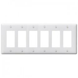 Hubbell - NP266W - Hubbell-Bryant NP266W Decora Wallplate, 6-Gang, Nylon, White, Standard Size